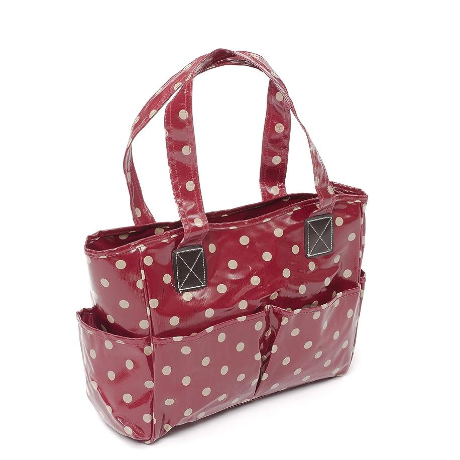 Hobby Gift Polka Dot Design PVC Craft Bag White Spots on Dark Red (12.5 x 39 x 35cm)