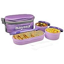 Nayasa Superplast Duplex Plastic Lunch Box, 6-Pieces, Purple