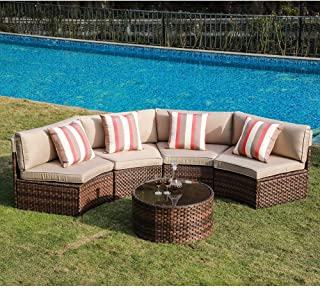 SUNSITT 5-Piece Half Moon Outdoor Sectional Sofa Brown Rattan Wicker w/Beige Cushions & Tempered Glass Coffee Table