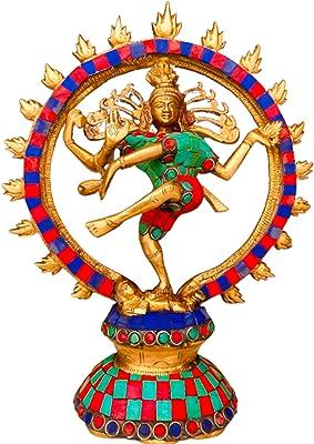 QT S Shiva Nataraja Statue Brass with Stone Finish Lord of The Cosmic Dancer Hindu God Shiva Statue Sanskrit Hinduism Supreme Deity Figurine Handmade Nataraj Shiva Famous in Nepal/India