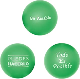 Cute Stress Ball for Adults & Kids in Spanish -Motivational Stressball (Sensory Toys for Autistic Children) for Teacher Gifts, Students, Figit Toys, College Care Packages 3Pk