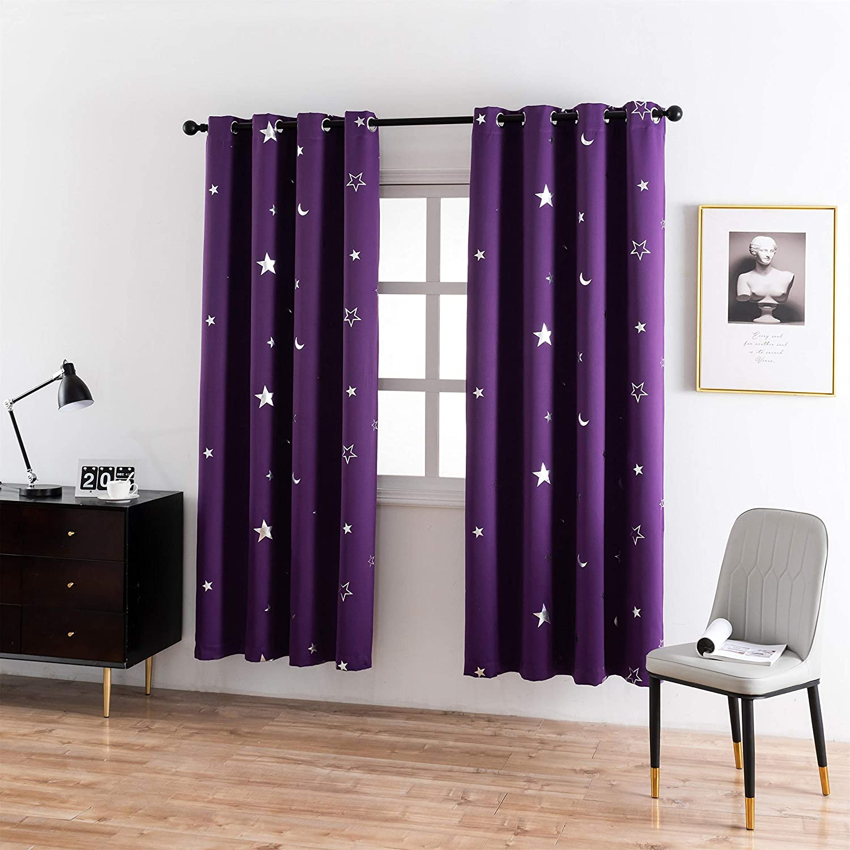 Silver Spring new discount work Star Print Curtains for Twinkle Cute Bedroom Nursery Kids