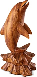 G6 Collection Wooden Hand Carved Dolphin Statue Sculpture Wood Decorative Home Decor Accent Figurine Handcrafted Handmade Seaside Tropical Nautical Ocean Coastal Decoration (Dolphin on Coral, 8