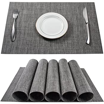BETEAM Placemats, Stain Resistant Anti-Skid Washable PVC Table Mats Woven Vinyl Placemats, Set of 6(Grey)