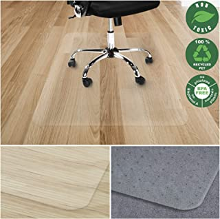 Office Marshal Chair Mat for Hard Floors | Eco-Friendly Series Chair Floor Protector | 100% Recycled (PET) Floor Mat for Office or Home Use | Multiple Sizes | Translucent - 40'' x 48''