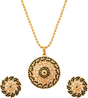 Touchstone Indian Hollywood Kundan look faux Emeralds leafy jewelry pendant set in antique gold tone