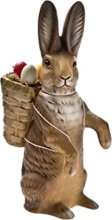 German paper-mache Easter rabbit candy container with basket, upright, brown