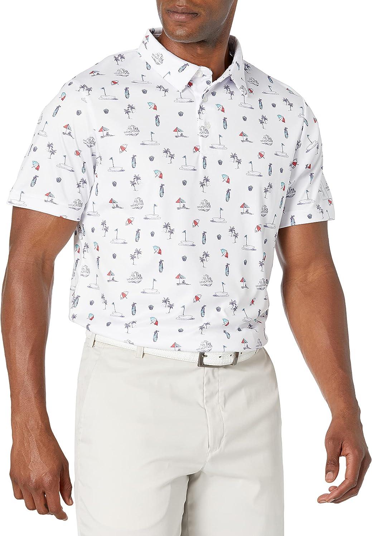 PGA TOUR Men's Vacation Print Short Industry No. 1 Polo Golf Indefinitely Sleeve Shirt