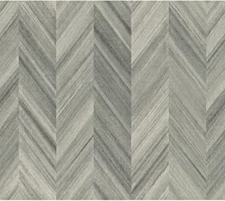 York Wallcoverings GE3600 Ashford Geometrics Gradient Chevron Wallpaper, Grey