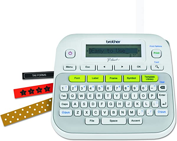 Brother P Touch PTD210 Easy To Use Label Maker One Touch Keys Multiple Font Styles 27 User Friendly Templates White