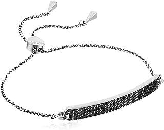 Michael Kors Precious Metal-Plated Sterling Silver Pave Slider Bracelet Black One Size