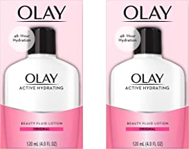 Face Moisturizer by Olay, Active Hydrating Beauty Fluid Lotion, Original Facial Moisturizer, 4 Oz. (Pack of 2) Packaging may Vary