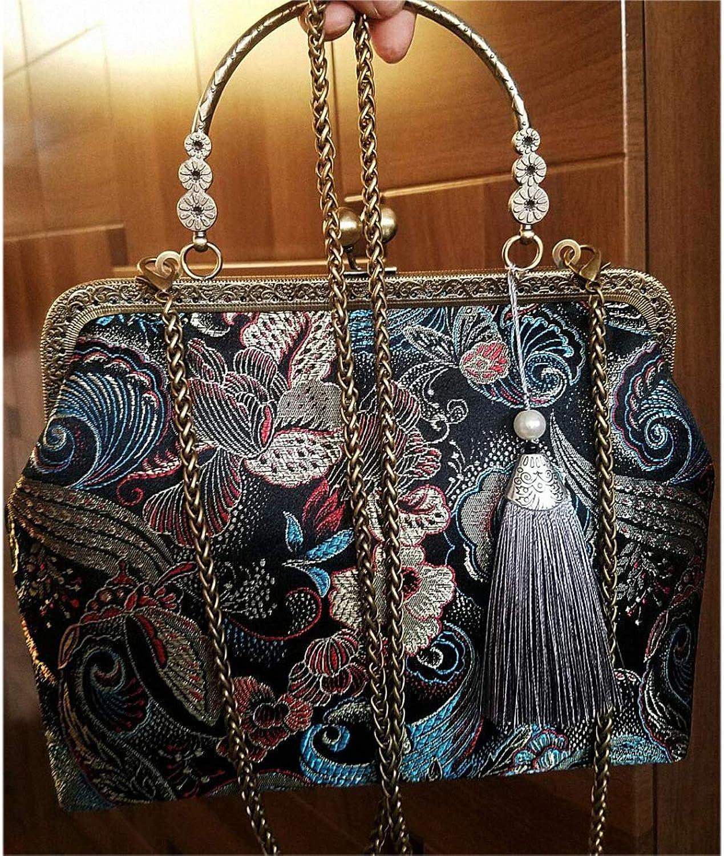 Women's Vintage Clutch Purse Cocktail Wedding Party Evening Handbag Embroidery Package Evening Bag Shoulder Bags Black gold