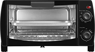 Comfee' Toaster Oven Countertop, 4-Slice, Compact Size, Easy to Control with Timer-Bake-Broil-Toast Setting, 1000W, Black (CFO-BB101)