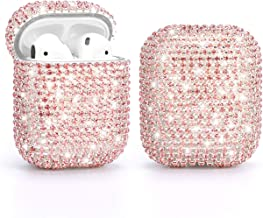 Gdrtwwh Diamond AirPods Case,Handmade Luxury Rhinestone Protective Charging Cases Hard Carrying Case Accessories for Apple Airpods 2 and 1 (Pink)
