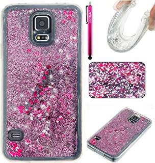 Galaxy S5 Case, Firefish Slim Sparkle Shock Absorption Slim Bumper Cover Anti-Slip Soft Silicone Protective Skin for Girls Children Fits for Samsung Galaxy S5 -Purple