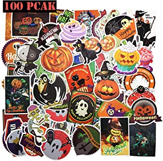 Ehope 100PCS Assorted Halloween Stickers Halloween Decoration Stickers Pumpkin Stickers Skull Crazy Stickers Self Adhesive Shapes for Halloween Party Decoratio(Halloween Stickers 100PCS)