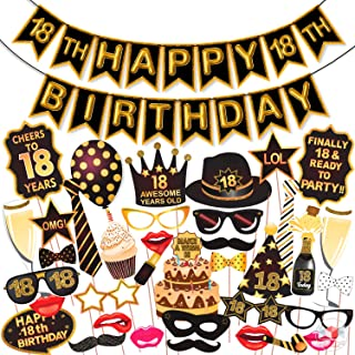Wobbox 18th Birthday Photo Booth Party Props Brown & Golden Glitter with 18th Birthday Bunting Banner, Birthday Party Deco...