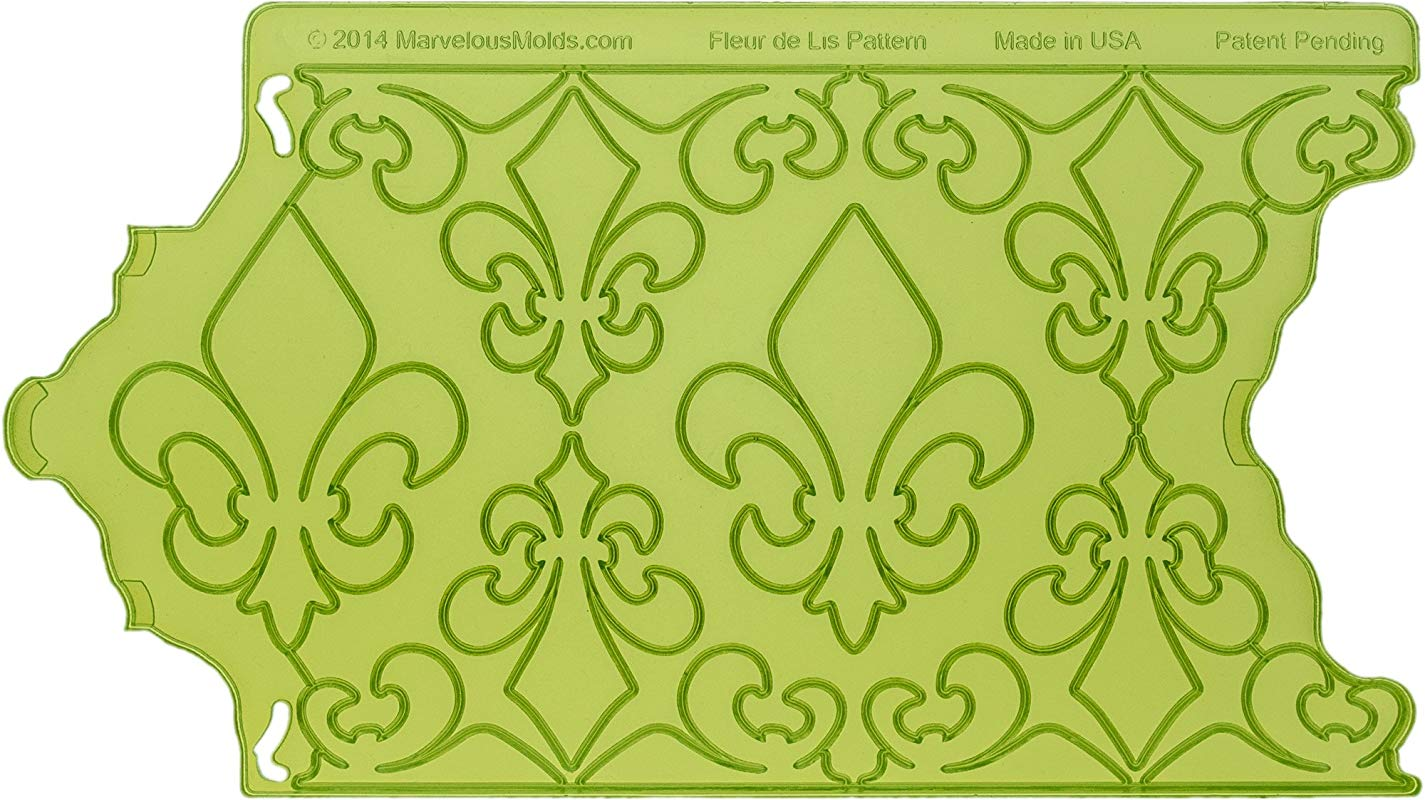 Marvelous Molds Fleur De Lis Pattern Onlay For Cake Decorating With Fondant And Gum Paste And More