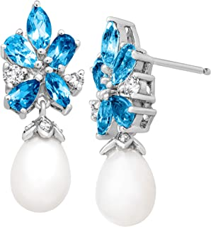 Best pearl and blue topaz earrings Reviews