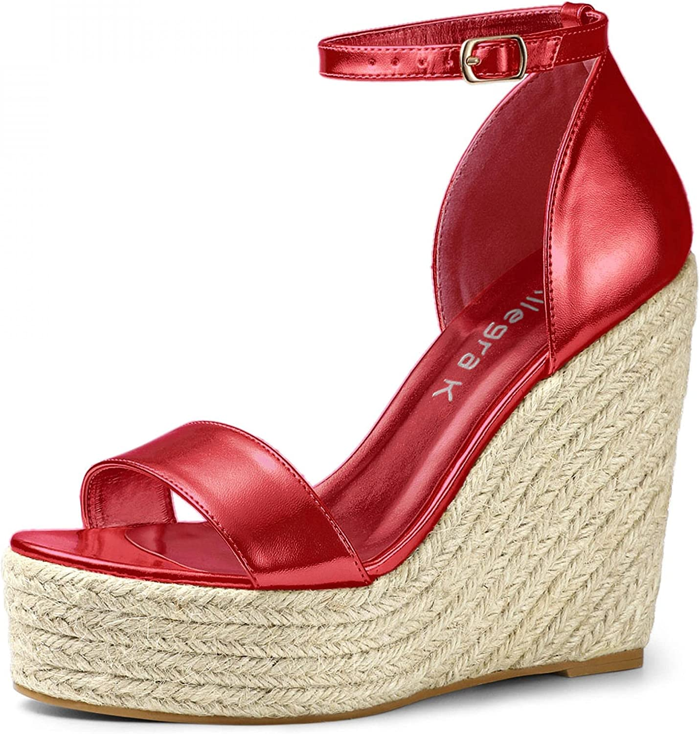 Allegra K Women's Shipping included Open Max 85% OFF Toe Espadrille Platform Wedges Sandals