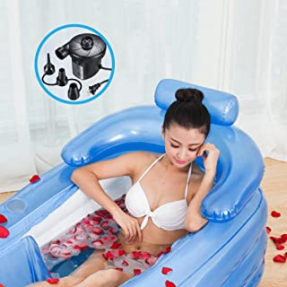 PENSON & CO. COMIN18JU002266 BABAT0038BL Inflatable Bath Tub PVC Portable Adult Bathtub Bathroom SPA with Electric Air Pump, Blue