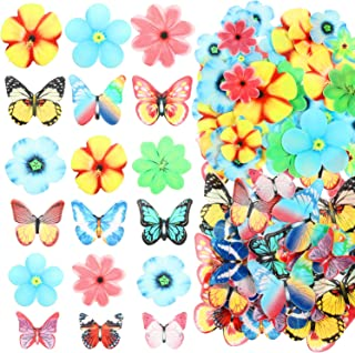 BBTO 100 Pieces Flowers Butterflies Cupcake Toppers Birthday Flowers Cupcake for Wedding Party Cake Decoration