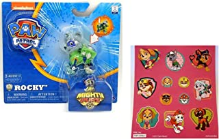 Paw Patrol Mighty Pups Rocky Figure with Light-up Badge and Paws with Bonus 12 Stickers Sheet Bundle (2 Items)