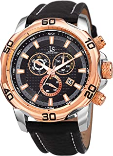 Joshua & Sons Chronograph Men's Watch – Leather Band with Big Rounded Stainless Steel Face - Multifunction Date, 30 Minute and 60 Second Registers