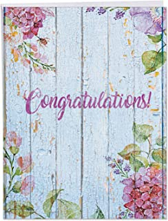 Congratulations Greeting Card 'Blooming Driftwood' with Envelope (Supersized 8.5 x 11 Inch) - Beautifully Colored Flower, Floral Driftwood Congratulatory and Celebration Card Stationery J6108JCGG-US