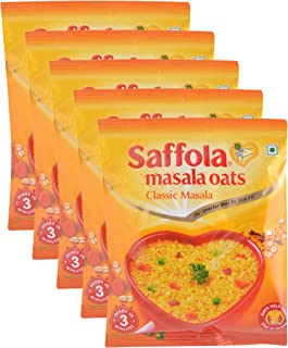 Saffola Masala Oats - Classic Masala- 39 grams - (1.37 oz) Vegetarian oatmeal India - pack of 5