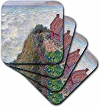 3dRose Print of Monet Painting Fishermans House - Soft Coasters, Set of 8 (CST_204944_2)