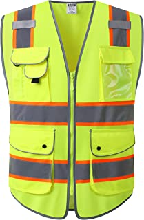HATAUNKI Class 2 Retro-Reflection Safety Vests 9 Multi-Function Pockets and Front Zipper ANSI/ISEA 107-2015 (Yellow-01, Large)