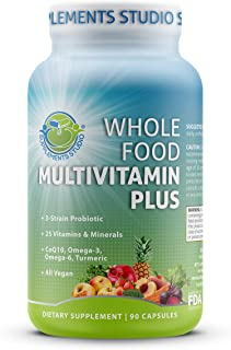 Whole Food Multivitamin Plus - Vegan - Daily Multivitamin for Men and Women with Organic Fruits...