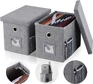 レターケース ,eascity ファイルケース 2個セット ふた付き収納ボックス 無臭綿麻 組み立て式 デスク上置き棚 新聞/雑誌/フォルダー/書類入れ 机上用品 書類ケース整理 収納 オフィス 寝室 リビング収納