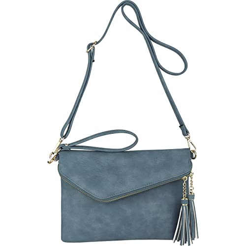 Fold-Over Envelope Wristlet Clutch Crossbody Bag with Tassel Accents 484c00710a