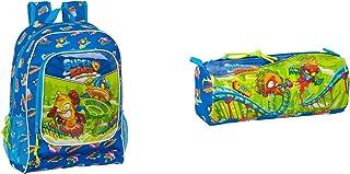 PACK Safta Mochila Escolar, Azul, 320x140x420mm + Portatodo con Cremallera y Compartimiento 210x70x80mm Superzings