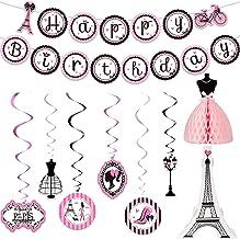 Paris Party Decorations Set, Paris Happy Birthday Banner Dress Honeycomb Centerpiece Eiffel Tower Cutout Paris Hanging Swi...