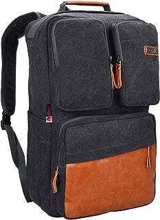Men Travel Backpack Vintage Laptop Bag Rucksack Casual Daypack Convertible Duffel Knapsack (6617 black)