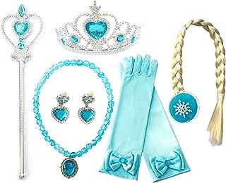 Kuzhi Frozen Princess Elsa Dress up Party Accessories 6 Pcs Set - Gloves, Tiara, Wand, Necklace, Wig & Earrings