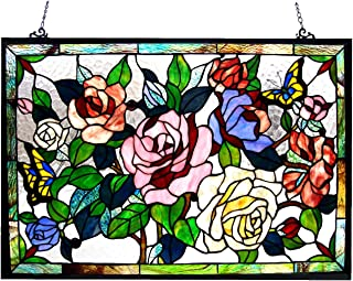 Chloe Lighting Stained Glass Featuring Roses & Butterflies Window Panel 27X19