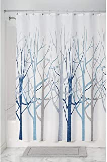 iDesign Forest Fabric Shower Curtain for Master, Guest, Kids', College Dorm Bathroom, 72