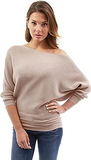 PattyBoutik Women One Shoulder Batwing Ribbed Sweater
