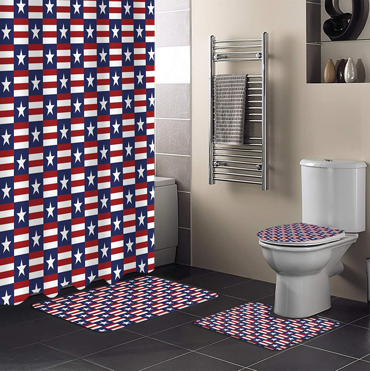 4 Piece Shower New product!! Curtain Sets Day Independence Flag Five- Virginia Beach Mall American