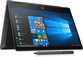 "HP Envy x360 13-ar0002ne Convertible Laptop, AMD Ryzen 7 3700U 2.3 GHz Processor, 13"" Inch FHD Touchscreen, 512 GB HDD, 16 RAM, Radeon RX Vega 10 Graphics, English - Arabic KB Win 10, Black Notebook"