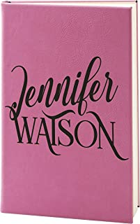 Personalized Leather Journals to Write In for Women | 15 Design - 9 Color - Pink | w Custom Text - Customized Notebooks for Women, Men, Diary for Girls