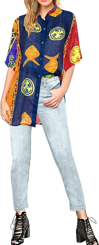 LA LEELA Women's Plus Size Hawaiian Shirt Button Down Camp Party Shirt Printed