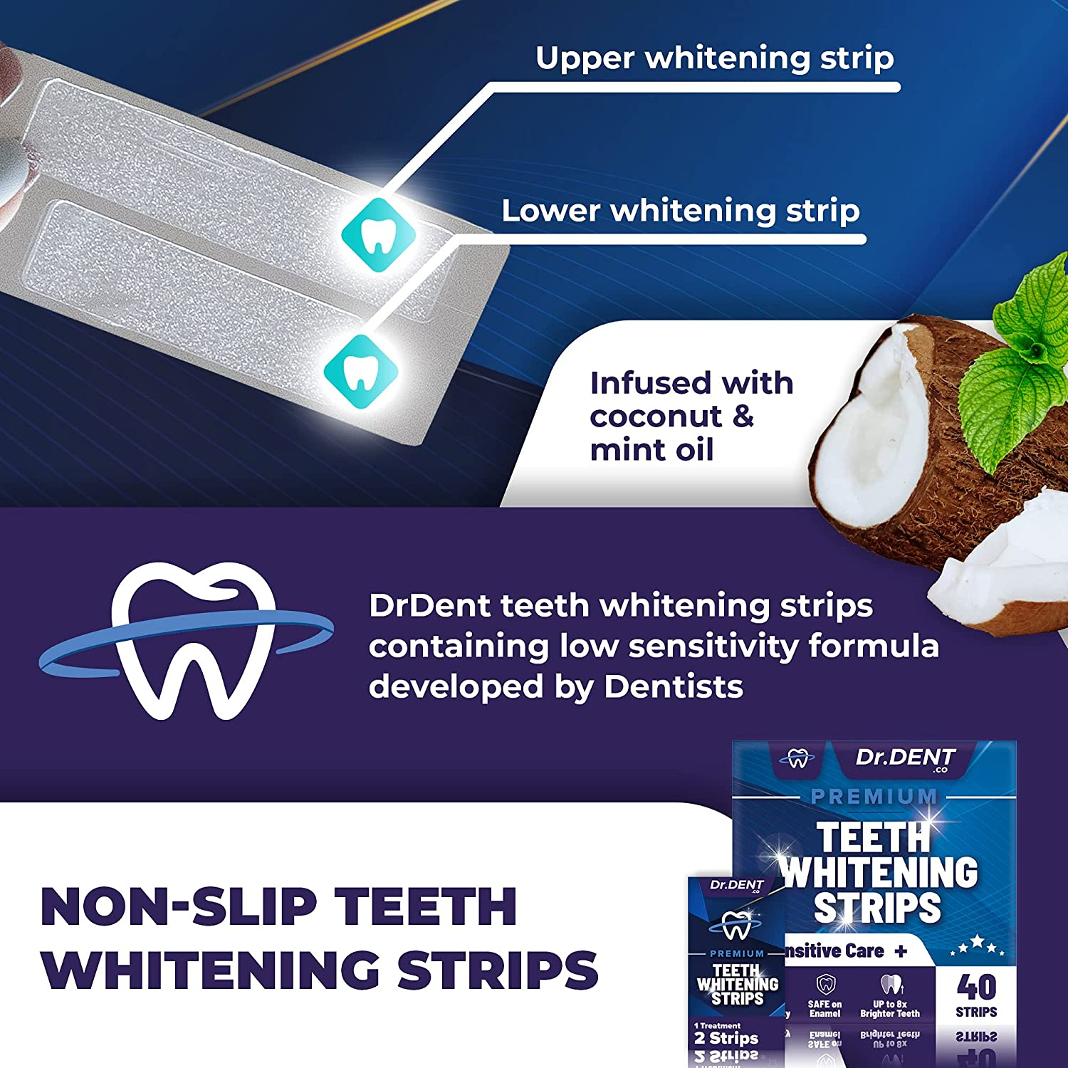 DrDent Premium Teeth Whitening Strips - 40 Whitening Strips = 20 Whitening Sessions - Non-Sensitive Formula - Removes Stains from Coffee and Tea - Safe for Enamel + Mouth Opener Included : Beauty & Personal Care