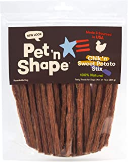 Pet 'n Shape Chik 'n Sweet Potato Stix – Made and Sourced in The USA-All Natural Healthy Dog Treat, 14 Oz