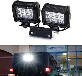 iJDMTOY Above 3rd Brake Dual LED Rear Lighting Kit For 2007-17 Jeep Wrangler JK, Includes (2) 36W LED Pod Lamps, Brake Lamp Mount Bracket & Relay Wiring Switch As Driving/Search, Reverse Backup Lights
